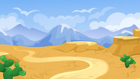 Desert With Road And Cactuses. Vector cartoon game background of desert  landscape with road and cactus Stock Photo