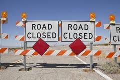 Desert Road Closure Stock Photo