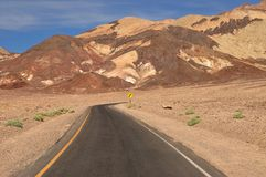 Desert road. In Death Valley Royalty Free Stock Photography