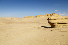 Desert Road. Footpath in the middle of the desert of Fayoum, Egypt Royalty Free Stock Images
