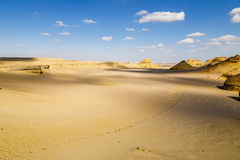 Desert Road. Footpath in the middle of the desert of Fayoum, Egypt Stock Photo