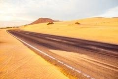 Desert road on Fuerteventura island Royalty Free Stock Images