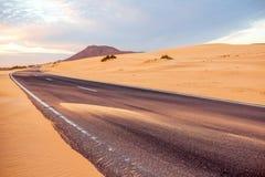 Desert road on Fuerteventura island Stock Photo