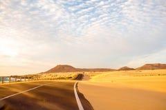 Desert road on Fuerteventura island Stock Photography