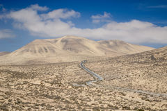 Desert road in Fuerteventura Royalty Free Stock Photography