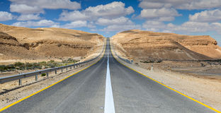 Desert road. The image was taken in desert of the Negev, Israel Royalty Free Stock Photo