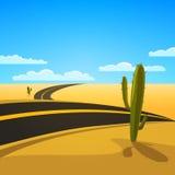 Desert Road. A Desert Landscape with Road, cartoon vector illustration Royalty Free Stock Photos