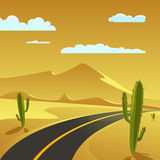 Desert Road. Desert Landscape with Road, cartoon vector illustration Stock Photos