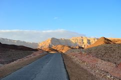Desert road. In the National Park Timna. Arabah, Israel Royalty Free Stock Photo