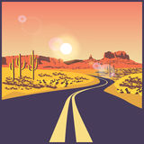 Desert road. Stylized vector illustration on the theme of the road, travels and trip. Desert road stock illustration