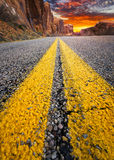 Desert Road to the Sunset Stock Photography