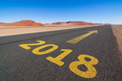 Desert road to 2018 Royalty Free Stock Photography