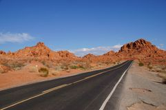Desert Road. A road in Valley of Fire State Park Stock Image
