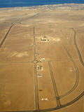 Desert roads. In Egypt (view from plane royalty free stock image