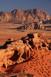Desert rocks. Eroded rocks and mountains in the Wadi Rum desert in Jordan during sunset hour Royalty Free Stock Photography