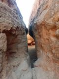 Desert rocks. Hiking around outskirts Royalty Free Stock Images