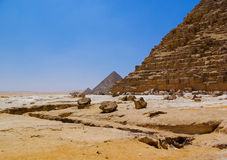 Desert and ruined pyramid. Pyramid and desert in Giza, Cairo, Egypt Stock Photography