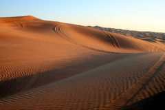 Desert Safari. Dune bashing near Dubai, at Sunset stock photo