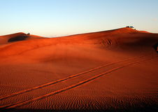Desert Safari. Dune bashing near Dubai, at Sunset stock photography