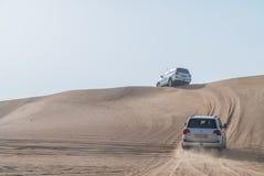 Desert Safari in dubai. Dune bashing in dubai desert terrain captured in july 2017 Royalty Free Stock Photography