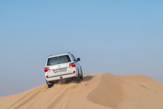 Desert Safari Dubai. Dune bashing in dubai desert terrain captured in july 2017 Royalty Free Stock Image