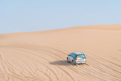 Desert Safari dubai. Dune bashing in dubai desert terrain captured in july 2017 Stock Image