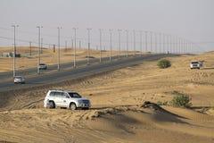 Desert safari in Dubai, UAE. DUBAI, UAE - October 30 - Desert safari, also called dune bashing, in DUBAI, UAE on October 30, 2013. Desert safari is a popular Stock Photography
