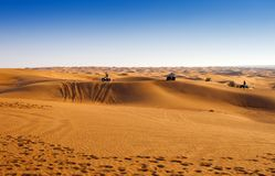 Desert safari experience. With atv 4x4 vehicles royalty free stock images