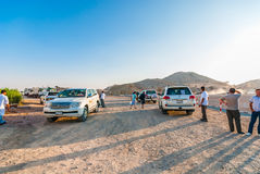 Desert Safari. Meeting point during the SUV desert safari ride just outside Dubai, UAE royalty free stock photos