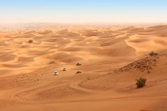 Desert safari near Dubai. UAE. Desert safari on jeeps near Dubai. UAE royalty free stock photography