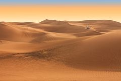 Desert safari on sunset near Dubai. UAE Stock Images