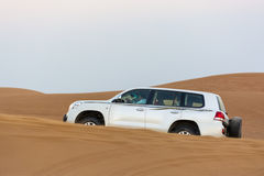 Desert safari. With 4-wheel drive car. Sharja, UAE, United Arab Emirates royalty free stock photo