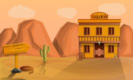 Desert saloon concept banner, cartoon style royalty free illustration