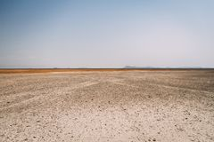 Desert sand in Africa with clear sky royalty free stock image