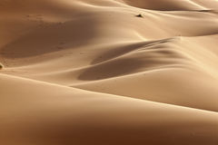 Desert sand dunes. With shadows in daylight Royalty Free Stock Image