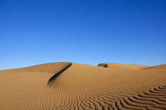 Desert sand dunes with clear blue sky. Sahara desert sand dunes with clear blue sky. Concept for holiday and traveling Stock Image