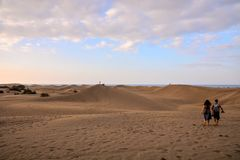 Desert with sand dunes in Gran Canaria Spain. Desert with sand dunes in Maspalomas Gran Canaria Spain Royalty Free Stock Photography