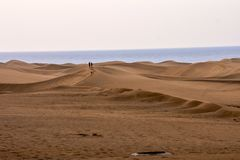 Desert with sand dunes in Gran Canaria Spain. Desert with sand dunes in Maspalomas Gran Canaria Spain stock photo