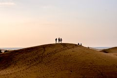 Desert with sand dunes in Gran Canaria Spain. Desert with sand dunes in Maspalomas Gran Canaria Spain royalty free stock image
