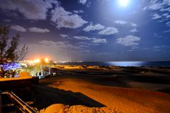 Desert with sand dunes in Gran Canaria Spain. Night Desert with sand dunes in Maspalomas Gran Canaria Spain royalty free stock photo