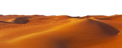 Desert sand and dunes isolated. On white background royalty free stock photos