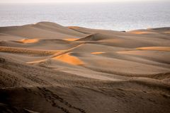 Desert with sand dunes in Gran Canaria Spain. Desert with sand dunes in Maspalomas Gran Canaria Spain royalty free stock photo
