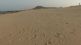 Desert sand dunes, sand grains, Corralejo Natural Park, August 30, 2016 . Fuerteventura. Canary Islands stock footage