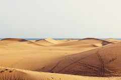 Desert sand dunes by sea Stock Images
