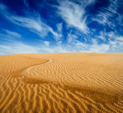 Desert sand dunes on sunrise Stock Photo