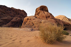 Desert sand, scrub and hills - Wadi Rum, Jordan Royalty Free Stock Photography