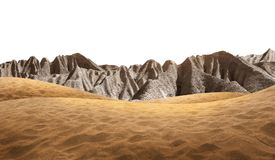 Desert sand with stone mountain. Isolated on white background stock photography