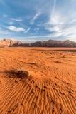 Desert sand waves in morning light at sunrise, Wadi Rum, Jordan royalty free stock photography