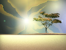 Desert Scene. Abstract desert scene with a lone tree on the horizon Royalty Free Illustration