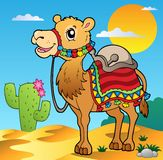 Desert scene with camel Royalty Free Stock Photos